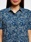 Блузка вискозная с короткими рукавами oodji #SECTION_NAME# (синий), 11411137B/14897/7633E - вид 4
