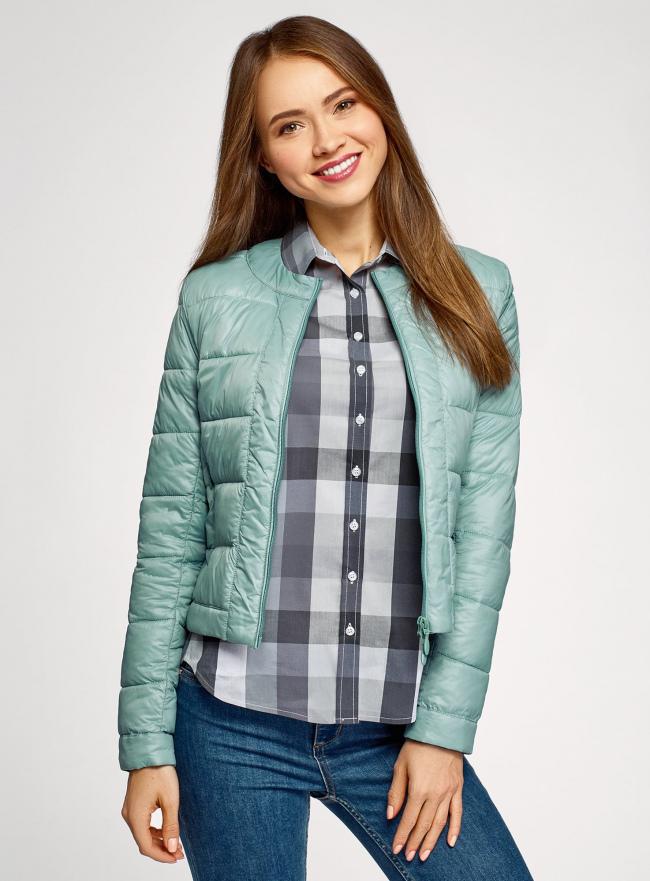 Куртка стеганая с круглым вырезом oodji #SECTION_NAME# (зеленый), 10203050-2B/47020/6C01N
