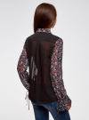 Блузка из комбинированных тканей с модными манжетами oodji #SECTION_NAME# (черный), 11411119/17288/294AF - вид 3