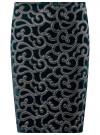 Юбка бархатная с аппликацией из искусственной кожи oodji #SECTION_NAME# (зеленый), 24101045-2/46067/6E00N