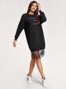Платье свободного кроя с кружевом oodji #SECTION_NAME# (черный), 14008031/46155/2991P - вид 6