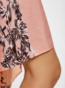 Юбка легкая с асимметричным низом oodji для женщины (розовый), 11600386/26546/4029F