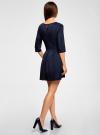 Платье трикотажное со складками на юбке oodji #SECTION_NAME# (синий), 14001148-1/33735/7900N - вид 3