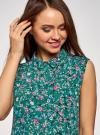 Топ базовый из струящейся ткани oodji для женщины (зеленый), 14911006-2B/43414/6C19F - вид 4