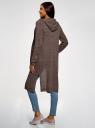 Кардиган с капюшоном и накладными карманами oodji для женщины (коричневый), 63205252/48953/3701N