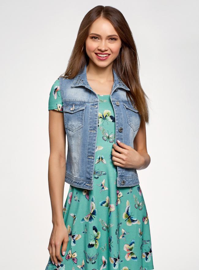 Жилет джинсовый с заклепками oodji для женщины (синий), 12409022-3/49461/7000W