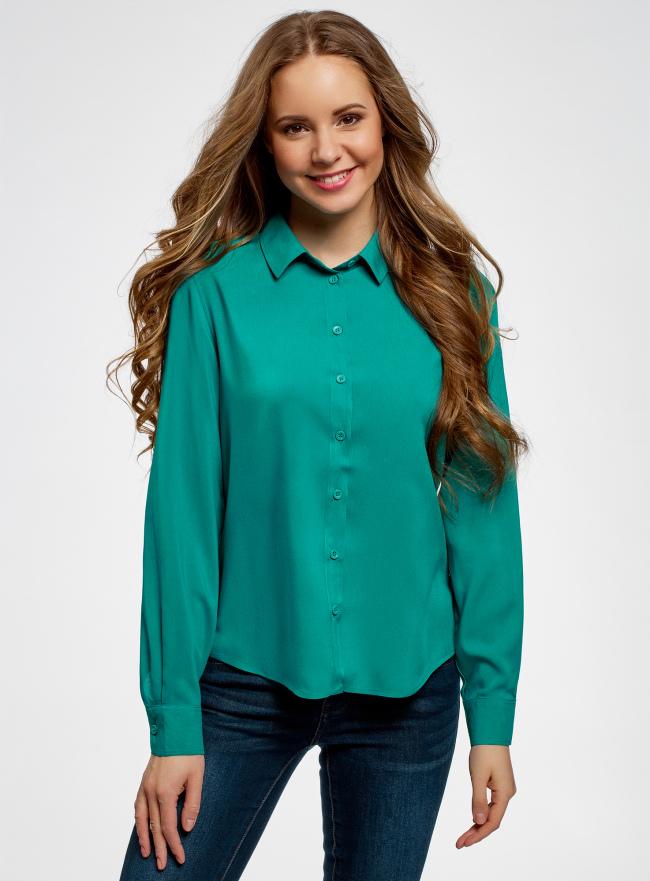 Блузка базовая из вискозы oodji для женщины (зеленый), 11411136B/26346/6D00N