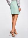 Юбка хлопковая с карманами oodji для женщины (зеленый), 11601183-2/45256/6500N
