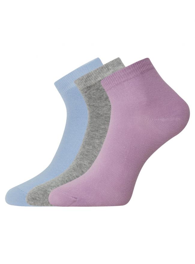 Комплект из трех пар укороченных носков oodji для женщины (разноцветный), 57102418T3/47469/19CTN