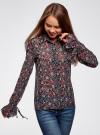 Блузка из комбинированных тканей с модными манжетами oodji #SECTION_NAME# (черный), 11411119/17288/294AF - вид 2
