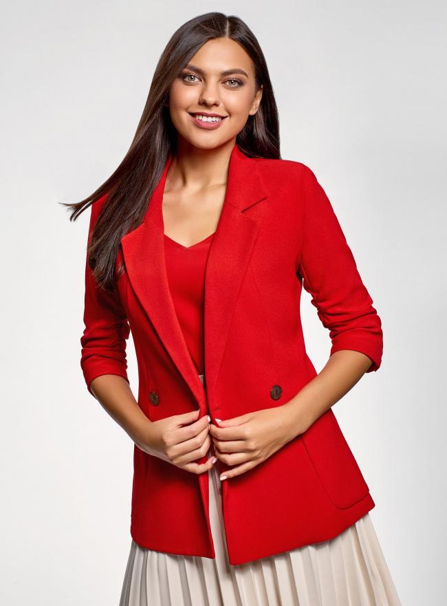 Жакет с накладными карманами и рукавом 3/4 oodji #SECTION_NAME# (красный), 21203109/46955/4500N