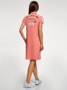 Платье-поло из ткани пике oodji для женщины (розовый), 24001118-7/48433/4319P