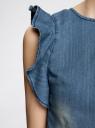 Комбинезон джинсовый с рукавами-крылышками oodji #SECTION_NAME# (синий), 13109008/18361/7500W - вид 5