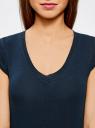 Комплект из трех базовых футболок oodji для женщины (синий), 14711002T3/46157/7900N