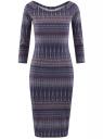 Платье облегающее с вырезом-лодочкой oodji #SECTION_NAME# (синий), 14017001-2B/37809/796CE