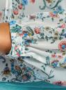 Блузка принтованная с завязками oodji #SECTION_NAME# (слоновая кость), 21418013-2M/17358/1275E - вид 5