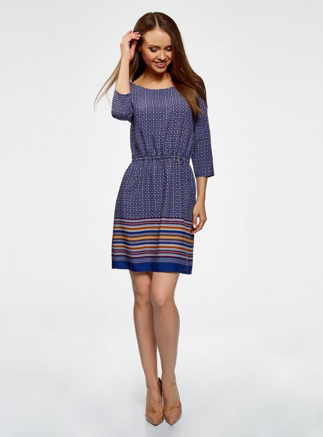 Платье вискозное с рукавом 3/4 oodji #SECTION_NAME# (синий), 11901153-2B/42540/7949G