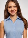 Рубашка базовая без рукавов oodji #SECTION_NAME# (синий), 14905001-1B/12836/7001N - вид 4