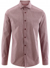 Рубашка хлопковая в мелкую графику oodji #SECTION_NAME# (красный), 3L110288M/19370N/1049G