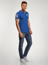 Поло хлопковое с вышивкой oodji для мужчины (синий), 5L422001I/44032N/7510P