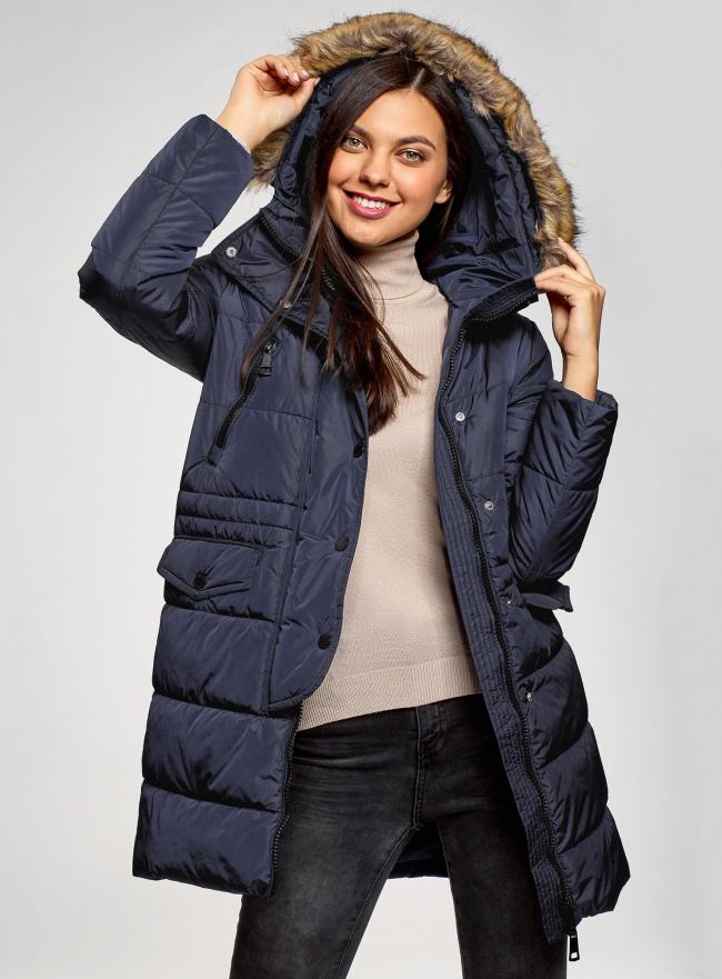 Куртка удлиненная с искусственным мехом на капюшоне oodji #SECTION_NAME# (синий), 10203058/45928/7901N