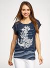 Блузка комбинированная с принтом oodji #SECTION_NAME# (синий), 21400311-6/15018/7912P - вид 2
