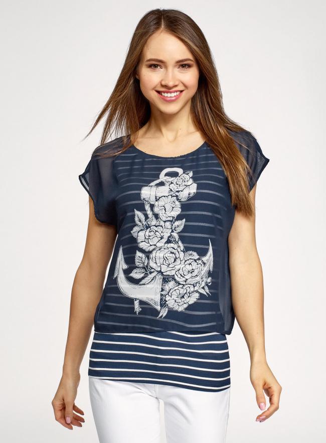 Блузка комбинированная с принтом oodji #SECTION_NAME# (синий), 21400311-6/15018/7912P