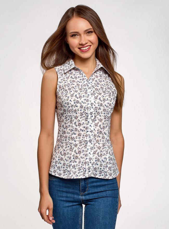 Рубашка базовая без рукавов oodji для женщины (белый), 14905001-1B/12836/1070F