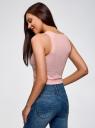 Топ укороченный в рубчик oodji для женщины (розовый), 15F15001/46412/4000N