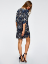 Платье принтованное прямого силуэта oodji для женщины (синий), 21900322-1/42913/7919F