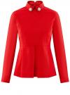 Блузка с баской и декором на воротнике  oodji #SECTION_NAME# (красный), 13K00001-2B/42083/4500N