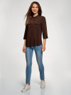 Блузка вискозная с нагрудными карманами oodji #SECTION_NAME# (коричневый), 11403225-7B/42540/3900N - вид 6