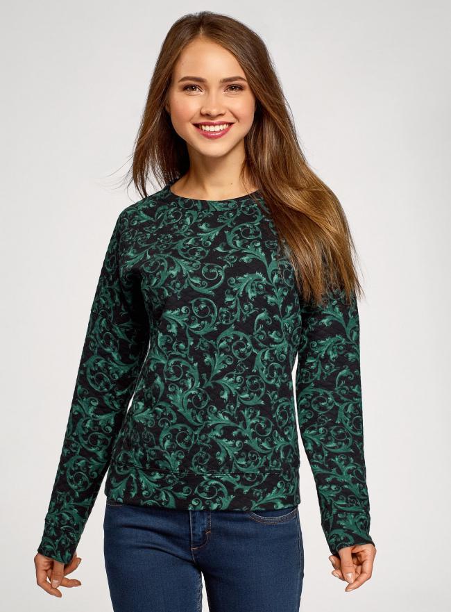 Свитшот принтованный из фактурной ткани oodji для женщины (зеленый), 14807001-3/33537/296DE