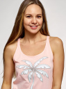 Майка хлопковая с вышивкой oodji для женщины (розовый), 14305010-12/46158/4012P