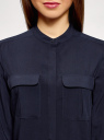 Блузка вискозная с нагрудными карманами oodji #SECTION_NAME# (синий), 11403225-7B/42540/7900N - вид 4
