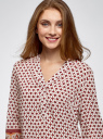 Блузка прямого силуэта с V-образным вырезом oodji #SECTION_NAME# (коричневый), 21400394-3/24681/1231E - вид 4