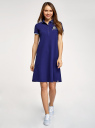 Платье-поло из ткани пике oodji для женщины (синий), 24001118-7/48433/7519P