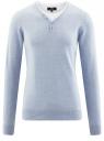 Пуловер с хлопковой вставкой на груди oodji #SECTION_NAME# (синий), 4B212006M/39245N/7010B