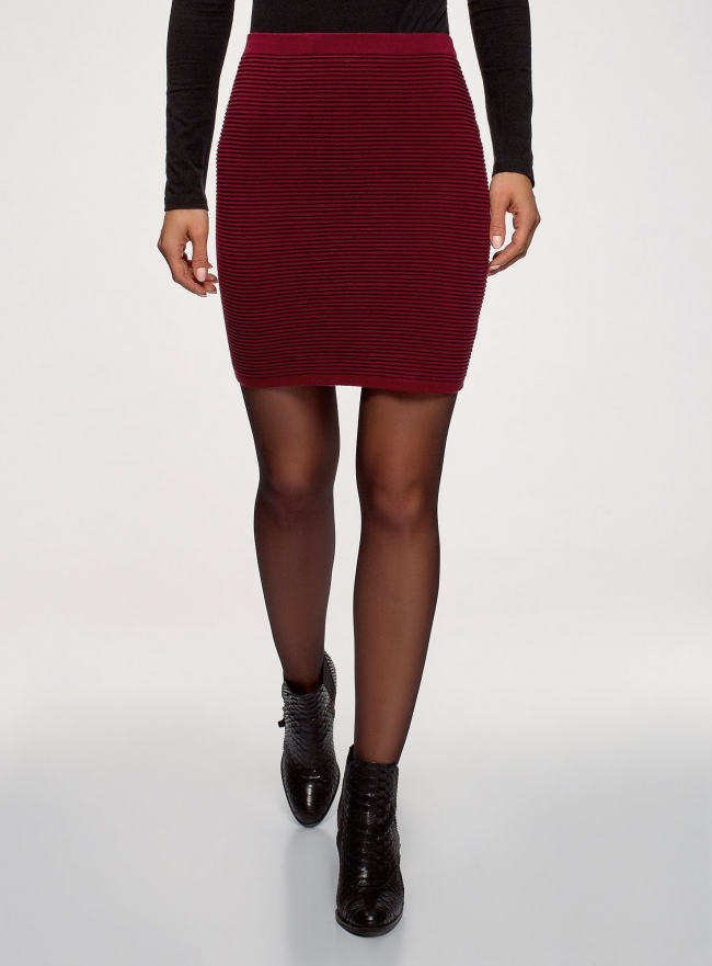 Юбка вязаная в рубчик oodji для женщины (красный), 63612028-1B/45429/4900N