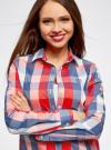 Блузка клетчатая прямого силуэта oodji для женщины (разноцветный), 11411131/46090/4574C - вид 4