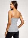 Топ трикотажный с кружевной отделкой oodji для женщины (серый), 14306003-1B/48683/2001M
