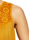 Топ из вискозы с кружевом oodji для женщины (оранжевый), 11400442/45190/5500N