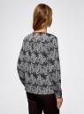Блузка с вырезом-капелькой и металлическим декором oodji #SECTION_NAME# (черный), 21400396/38580/2912O - вид 3