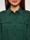 Блузка из струящейся ткани с нагрудными карманами oodji #SECTION_NAME# (зеленый), 11401278/36215/6900N - вид 4