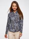 """Рубашка хлопковая с принтом """"пейсли"""" oodji #SECTION_NAME# (синий), 21402212-1/45966/7933E - вид 2"""