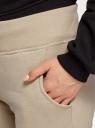 Брюки на завязках из футера с начесом oodji для женщины (бежевый), 16700030-25B/19014N/3300N