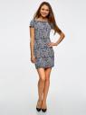 Платье трикотажное принтованное oodji #SECTION_NAME# (синий), 14001117-7/16564/7912O - вид 2