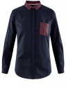 Рубашка базовая с нагрудным карманом oodji #SECTION_NAME# (синий), 11403205-10/26357/7945B - вид 6