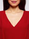 Платье шифоновое с декором на поясе oodji для женщины (красный), 21900307/38584/4500N