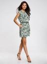 Платье вискозное без рукавов oodji #SECTION_NAME# (зеленый), 11910073B/26346/6062O - вид 6